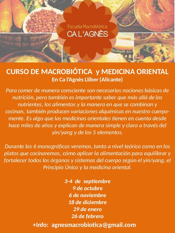 CURSO DE MACROBIÓTICA Y MEDICINA ORIENTAL EN LLÍBER (Alicante)