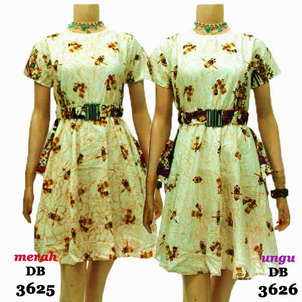 DB3625-3626 Mode Baju Dress Batik Modern Terbaru 2014
