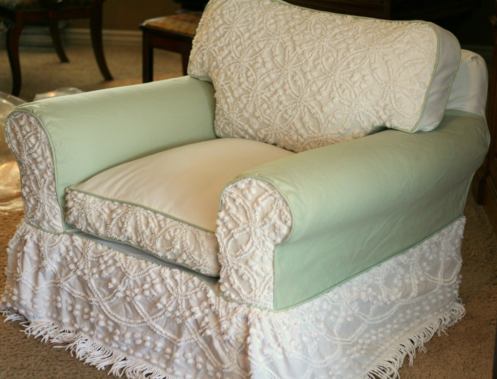 Custom Slipcovers by Shelley Chenille bedspread chair slipcover
