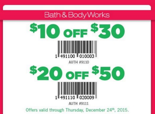 Bath & Body Works Holiday $10 Off $30, $20 Off $50 Coupons