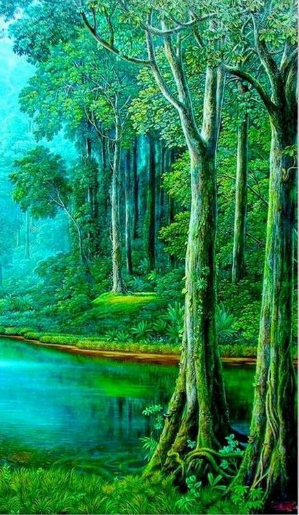 Cuadros pinturas oleos pintura hiperrealismo paisaje for Cuadros verticales grandes