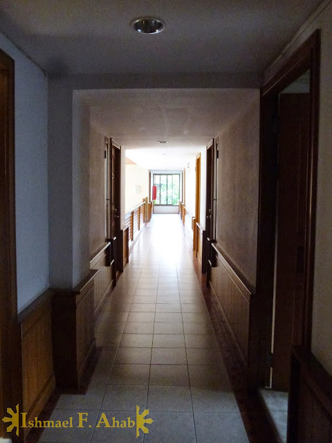 Dark corridor in Moon and Sun Hotel, Chiang Rai