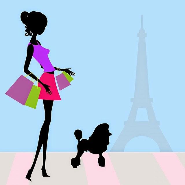 Chica con perrito en París