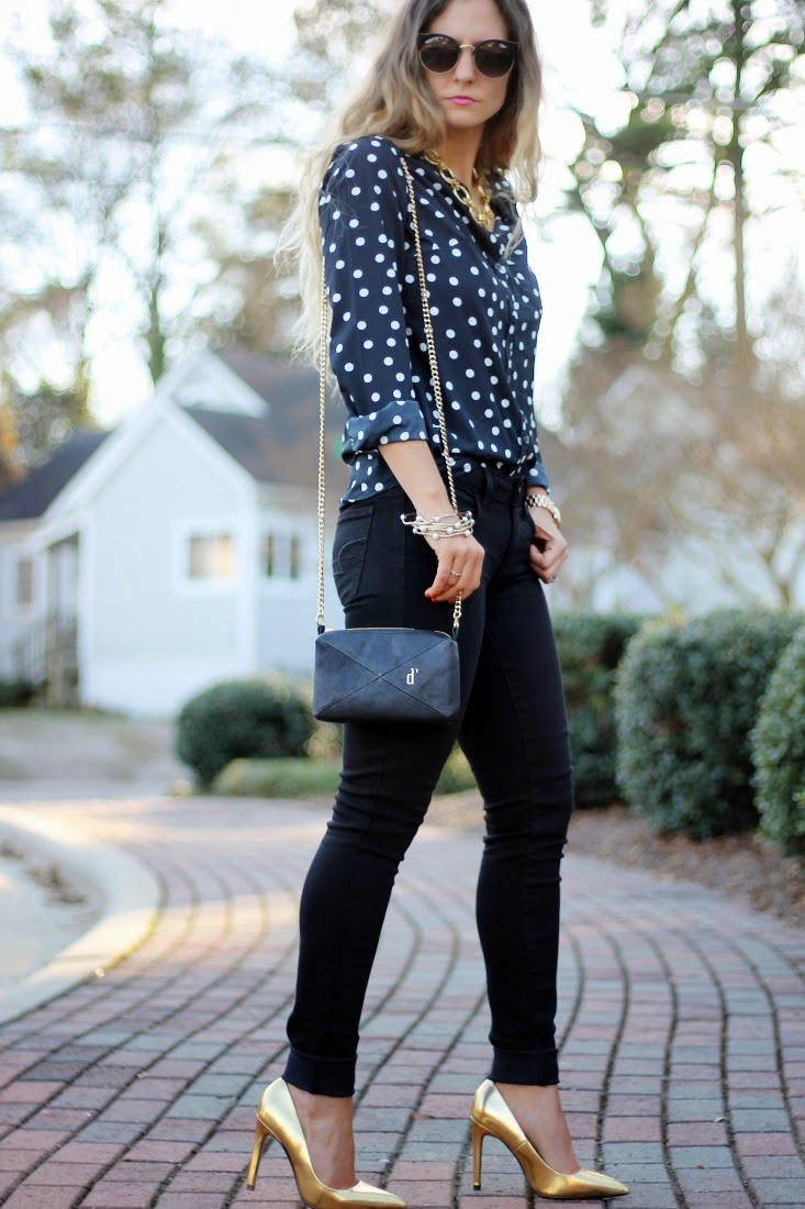 Black on Black outfit with Gold pumps