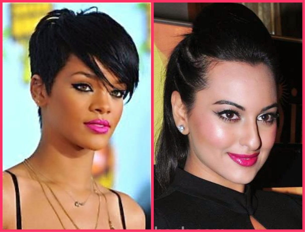 Hot pink lip colour, rihanna in hot pink lip colour, sonakshi sinha in hot pink lip colour