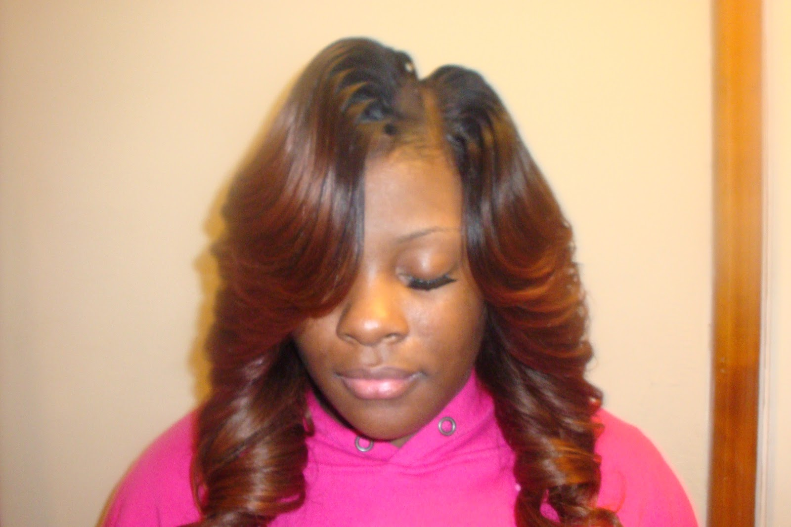 Side Part Sew in with Straight Hair