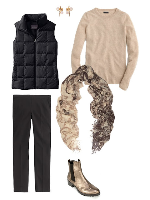 outfit with black down vest and beige sweater