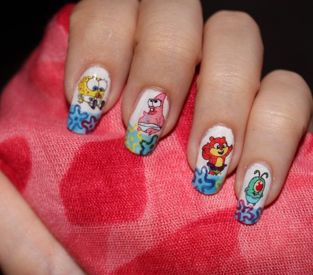 Nail Design Tutorials Nail Design Baby SpongeBob Baby - Spongebob nail decals