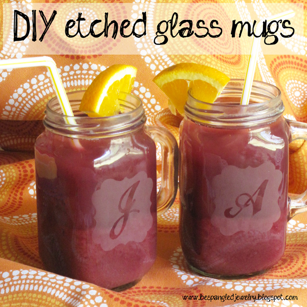 DIY Etched Mason Jar Mugs