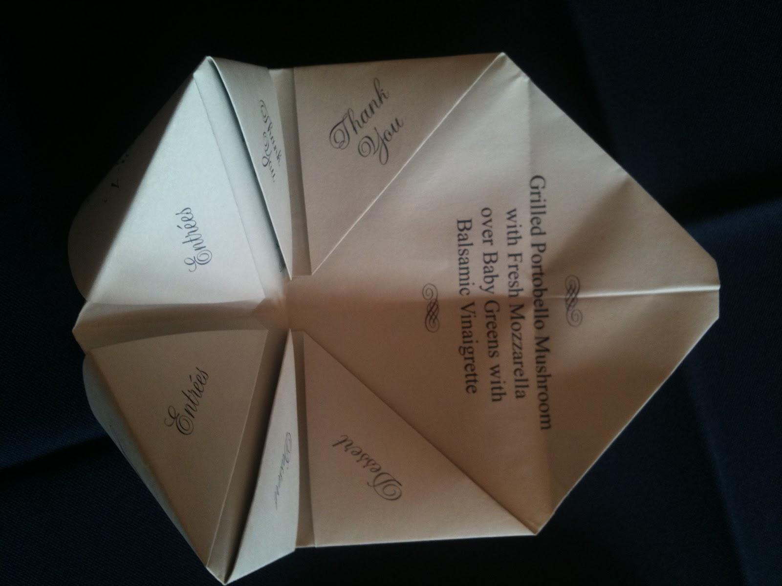 Lilies N Lace Origami Menu Cards
