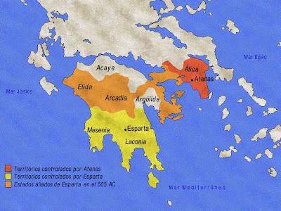 Grecia Antigua. La Guerra del Peloponeso es considerada la Guerra Mundial de la Antigua Grecia, enfrentó a las ciudades de la Liga de Delos, lideradas por Atenas, y las de la Liga del Peloponeso, conducidas por Esparta.