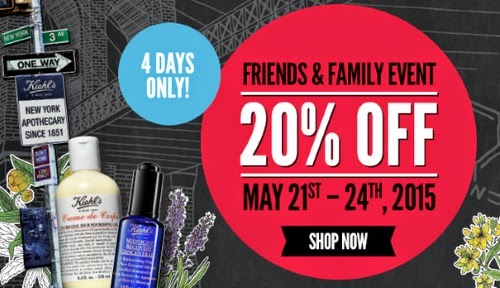 Kiehls 20% Off Friends & Family + 3 Free Samples + Free Shipping Promo Code
