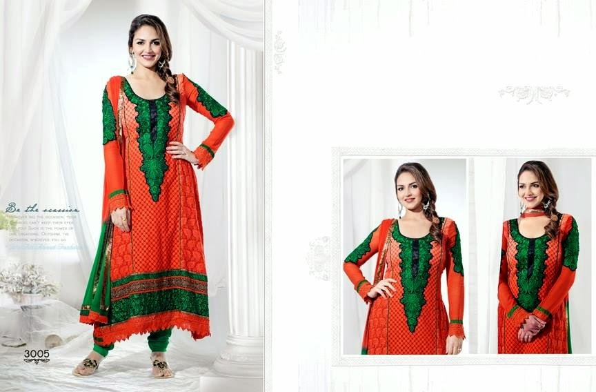 EshaDeolSalwarSuits2013 2014 wwwfashionhuntworldblogspotcom 010 - Wonderful Color Combination Esha Deol Suits