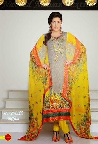 Star Crinkle, Chiffon Lawn, Dresses Collection, 2014 For Women