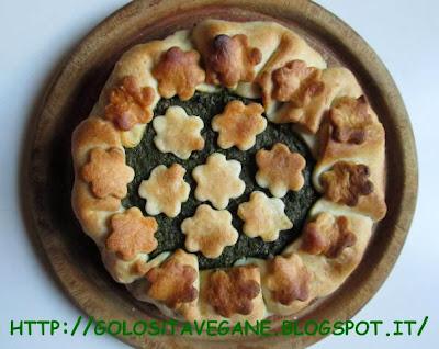 aglio, blede, erbette, forno, lievito alimentare in scaglie, pasta brisè, peperoncino, ricette vegan, tofu, Torte salate,