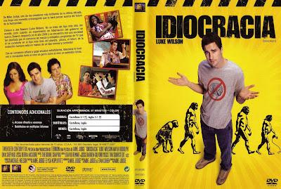 Capa do filme Idiocracia, que mostra um futuro provável a uma raça de imbecis.
