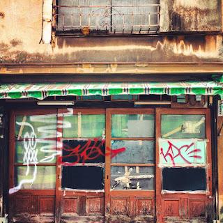 Haikyo in Japan with grafitti