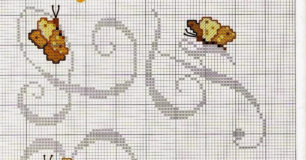 Ricami e schemi a punto croce gratuiti lettere alfabeto for Farfalle punto a croce