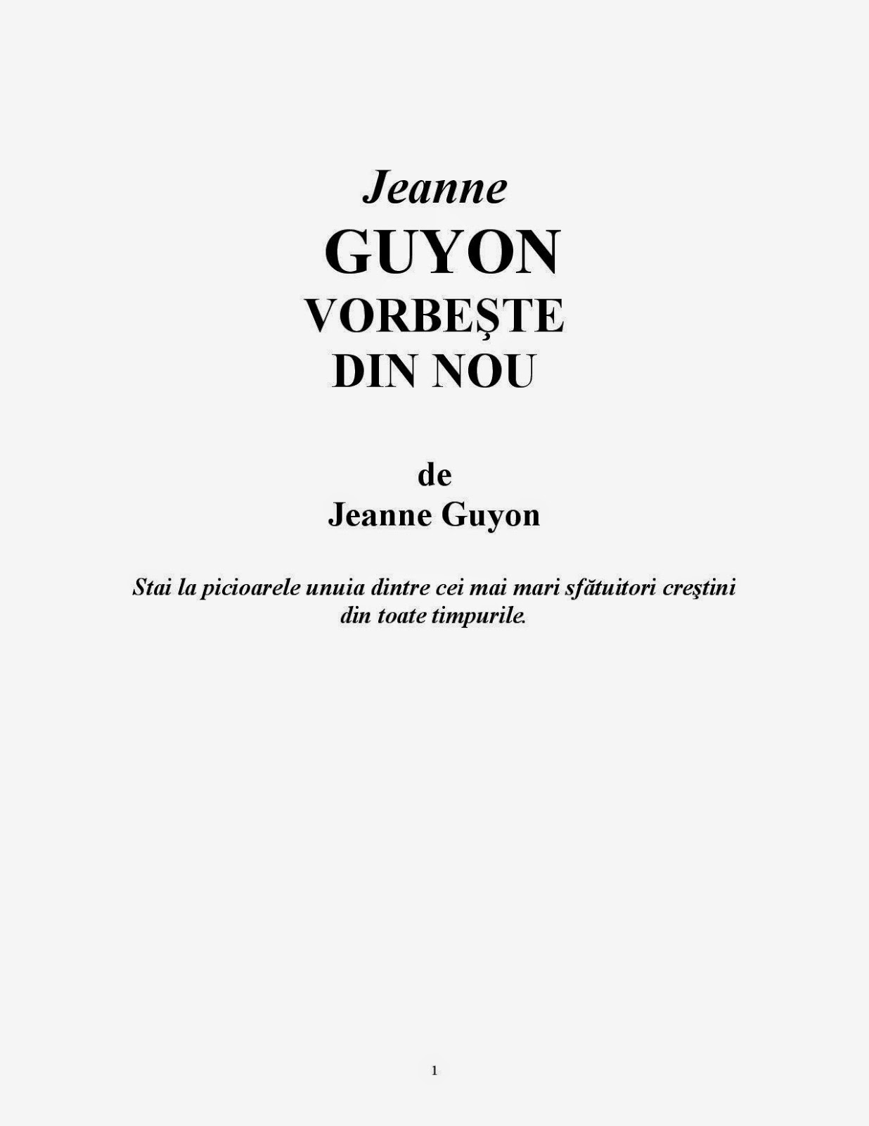 Jeanne Guyon-Vorbeşte Din Nou-