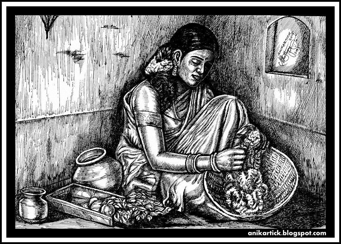 Realistic drawing girl drawing woman drawing lady drawing tamil girl drawing tamil woman drawing tamil lady drawing village girl drawing