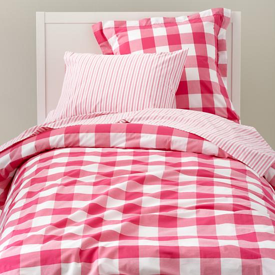 LAND OF NOD BREEZY GINGHAM DUVET + SHAM