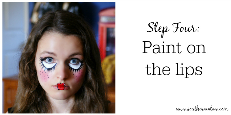 Southern in law diy four easy halloween face painting tutorials doll face paint step four paint on the lips solutioingenieria Choice Image