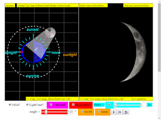 when day =4, it is waxing crecent moon click to run: EJSS Moon Phases Model offline: DOWNLOAD, UNZIP and CLICK *.html to run source: EJSS SOURCE CODES original author: Todd Timberlake, lookang author of EJSS version: lookang