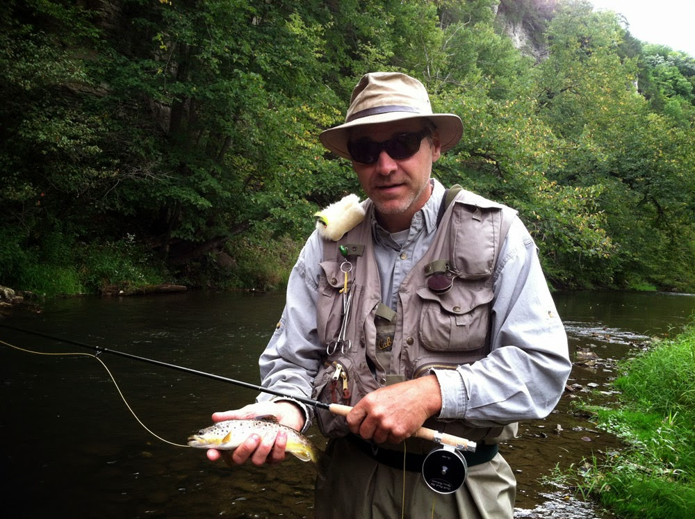 Jeff fishing and catching a nice brown trout with the Hardy Trout Fisher fiberglass fly rod.