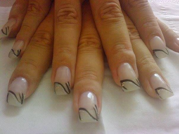 french white tip gel nails white glitz over natural tip acrylics + nail art white tip acrylics and nail stamping