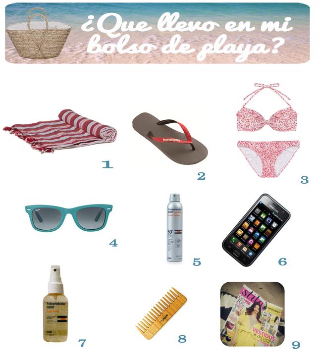 Bolso de playa que llevo protección solar