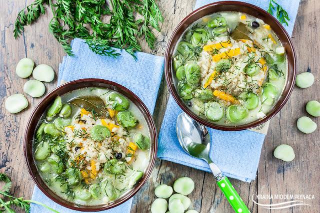 ryżanka, zupa ryżowa, zupa z ryżem, zupa z bobem, zupa bobowa, danie z bobu, bób, ryż brązowy, zupa koperkowa, świeży koperek, ryż kupiec, kraina miodem płynąca