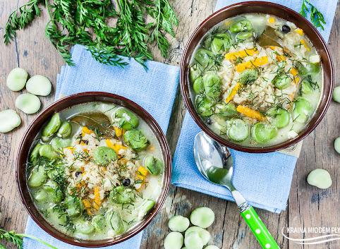 Koperkowa zupa ryżowa z bobem