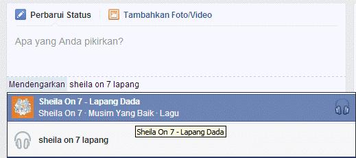 membuat status lagu di facebook