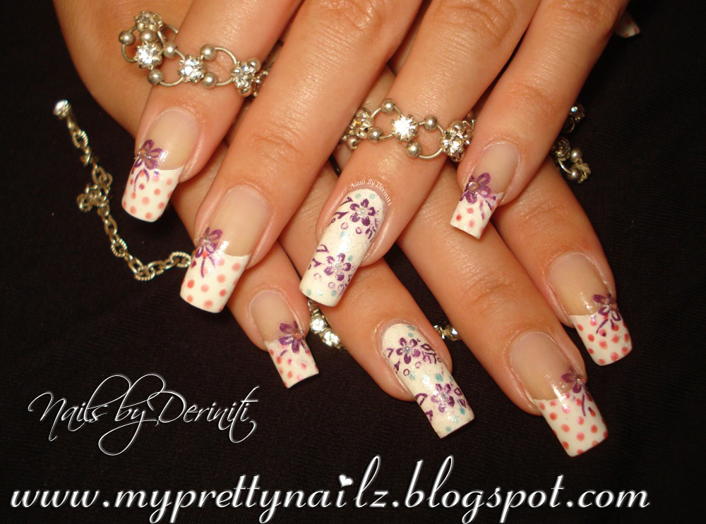 My Pretty Nailz: Easy Polka Dot French Tips & Flowers Nail Art ...