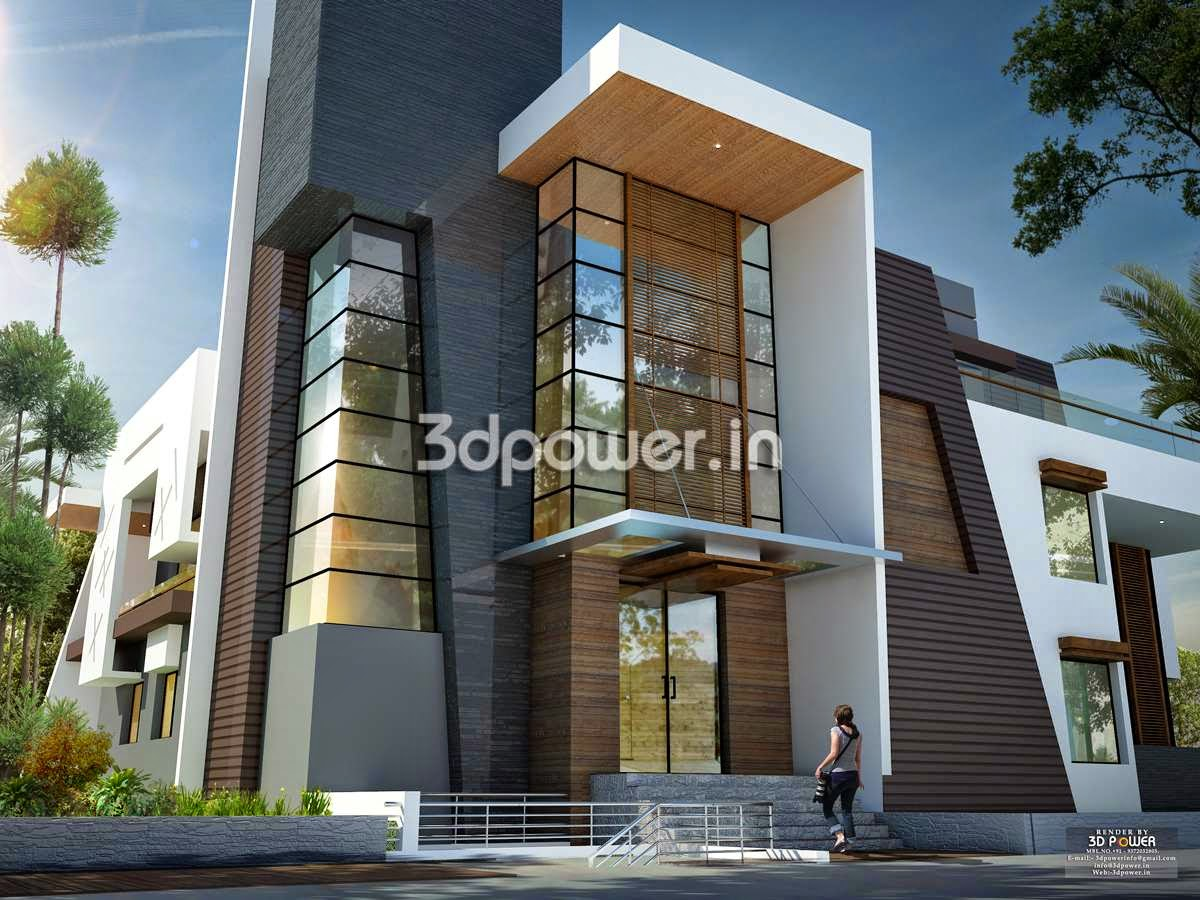 Front view of modern bungalow 3d design rendering Ultra modern contemporary house plans