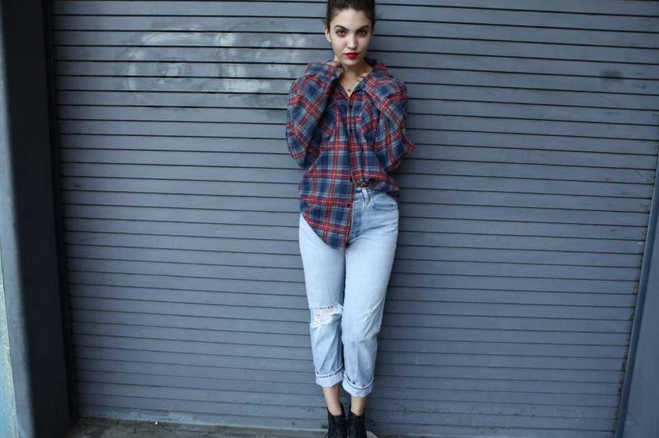 want a classic plaid flannel shirt and a pair of high waisted jeans!