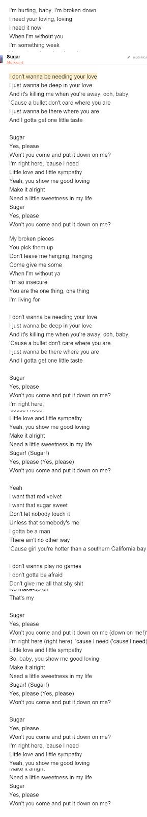 traduzione sugar maroon 5 lyrics translation