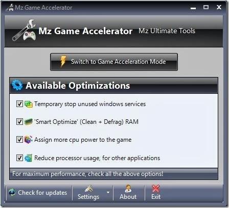 برنامج Mz Game Accelerator
