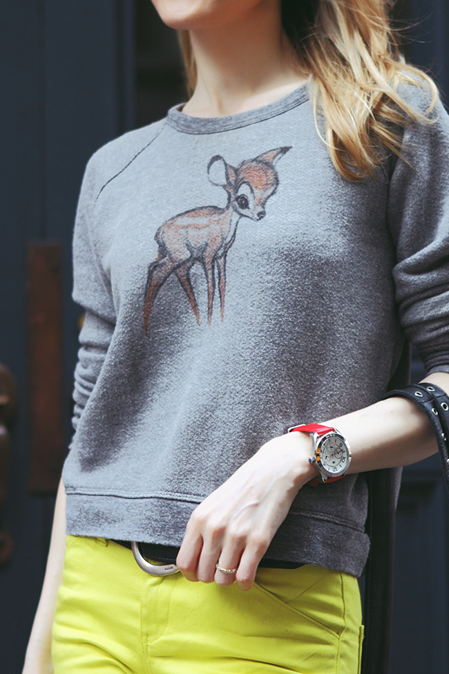 "by ""The Wind of Inspiration"" on how to wear a sweatshirt with Bambi print #twoistyle #style #fashion #personalstyle #fashionblog #ootd #outfit"