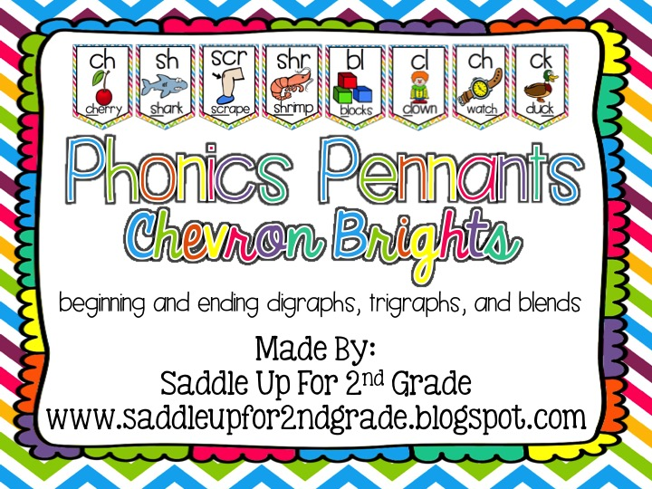 Chevron Bright Phonics Pennants by Saddle Up For 2nd Grade
