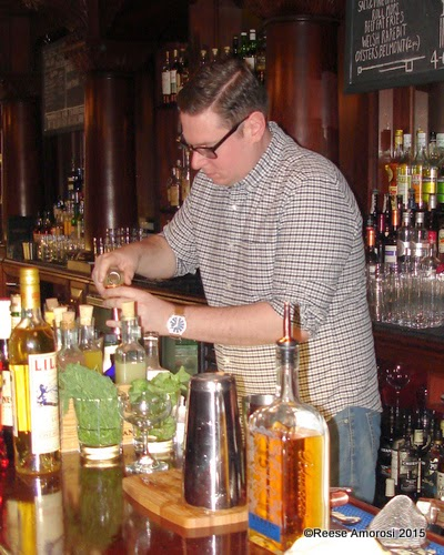 Bartender Jesse Cornell at Bluecoat Barrel Finished Gin Event