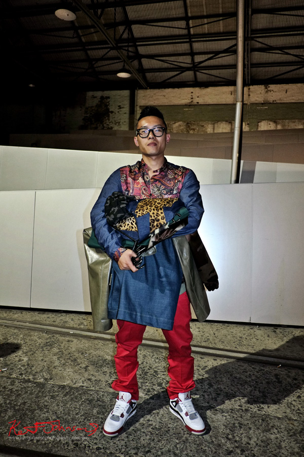 Portrait, Kobe Kai menswear fashion designer, Raffles graduate show Carriage Works 2012 Sydney Australia