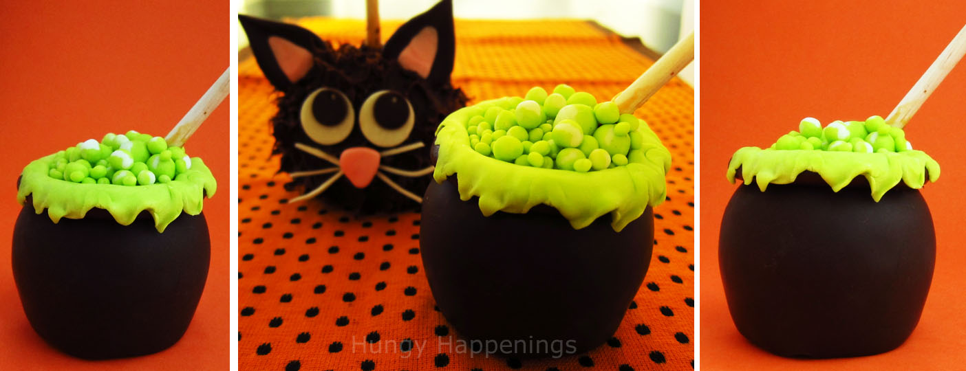 cook up a spooky chocolate caramel apple cauldron for your halloween party these mini cauldrons
