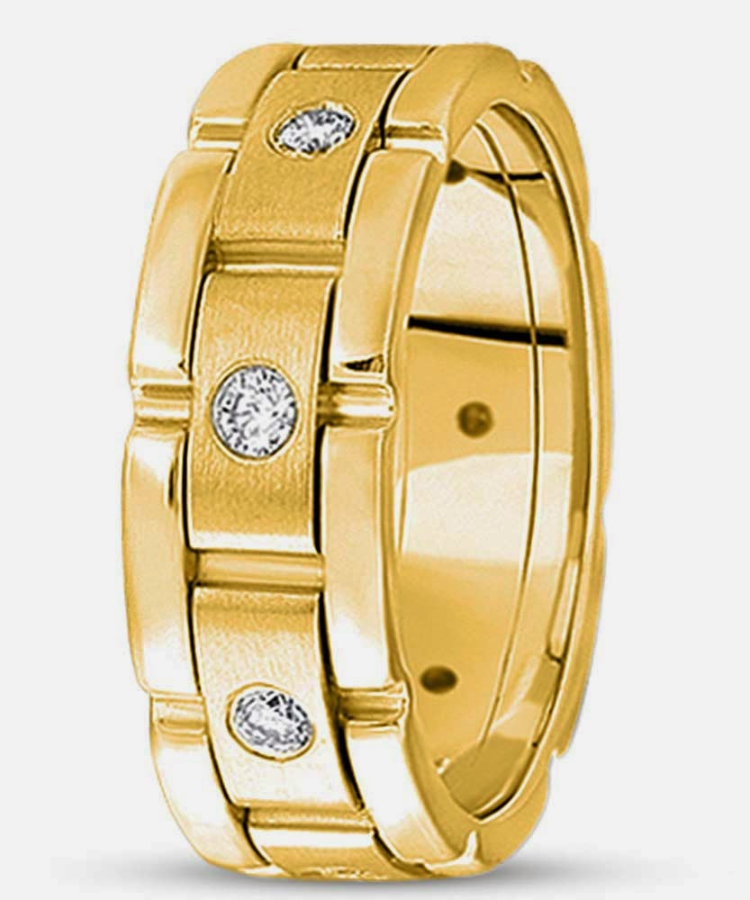 Mens Gold Wedding Rings with 3 White Diamond Model pictures hd