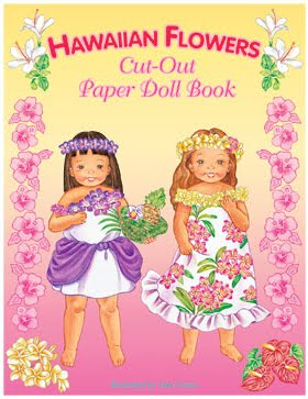 Hawaiian Flower Cut-out Paper Doll