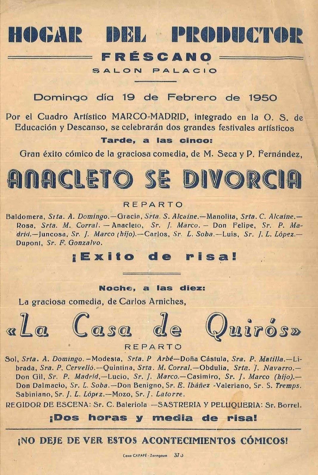 Centro de Estudios Borjanos: Teatro en Fréscano