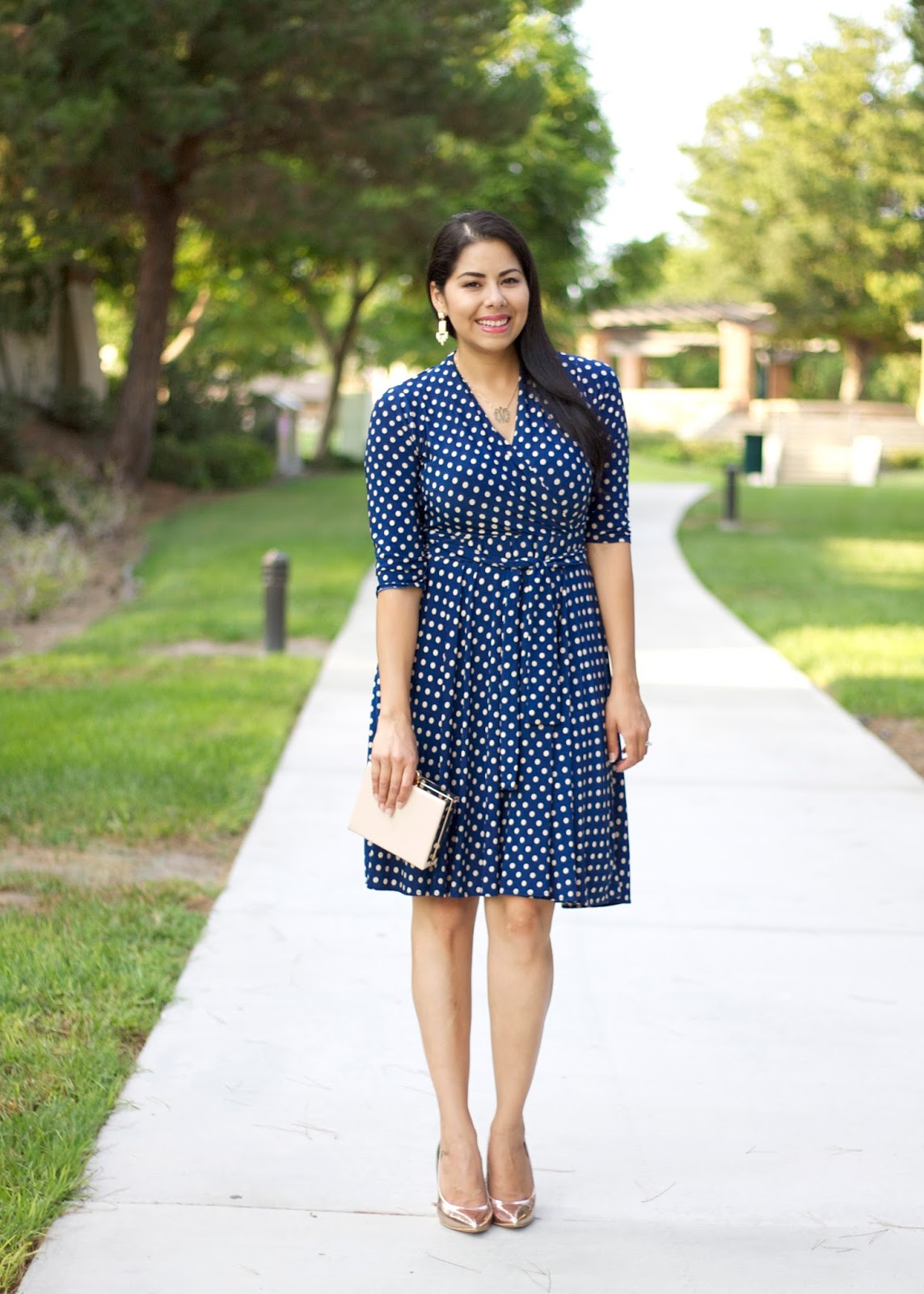 Polka dot dress, polka dot Karina Dress, Karina Megan Dress, navy blue dress outfit
