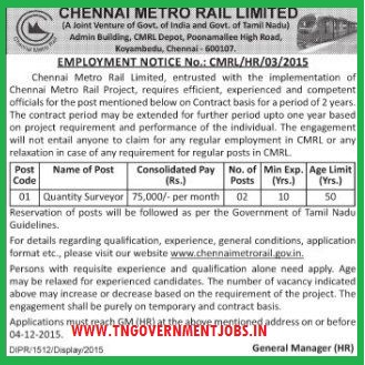 Applications are invited for Quantity Surveyor Post in Chennai Metro Rail Ltd (CMRL)