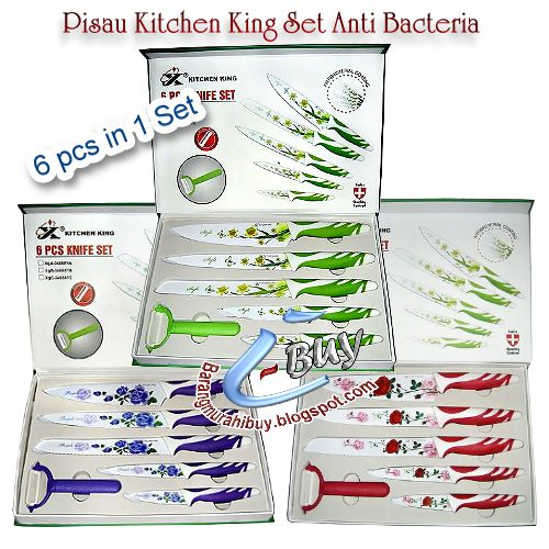 pisau dapur keramik kitchen king antibacteria set dan