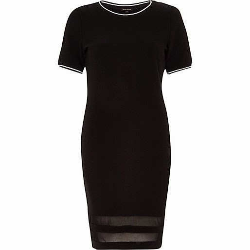mesh stripe black dress